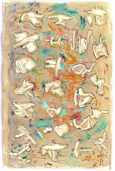 Il y a souvent quelque chose de tremblé dans la peinture de Martine Smagghe. Une forme de tremblé qui pourrait évoquer le friselis du vent sur l'eau, sur une feuille, et d'ailleurs...