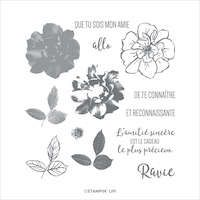 150335 Rose sauvage tampon stampin up roseraie fleur à colorier feuillage branche
