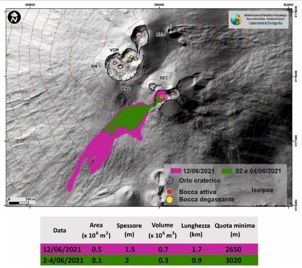 Etna - Map of the summit craters of Etna and the flows broadcast on June 2, 4 and 12, 2021. BN: Bocca Nouveau, VOR: Voragine; NEC: northeast crater; SEC: south-eastern crater. The topographic reference base on which the morphological updates have been superimposed is the DEM 2014 developed by Laboratoire d'Aérogeophysique - Rome Section 2.