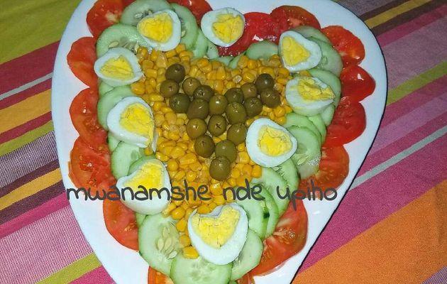 Salade coeur et oeufs coeurs