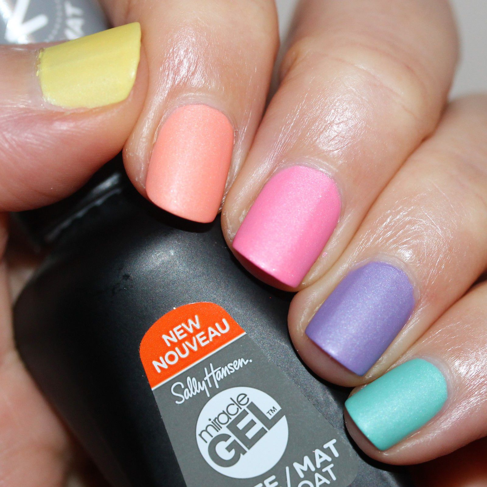 Essie Fill The Gap Base Coat / Superchic lacquer Law Of Nature, Cause and Effect, Happenstance, Synchronicity & Crystal Blue Persuasion / Sally Hansen Miracle Gel Top Coat Matte
