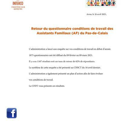 CFDT: retour questionnaire conditions de travail des AF du Pas-de-Calais: