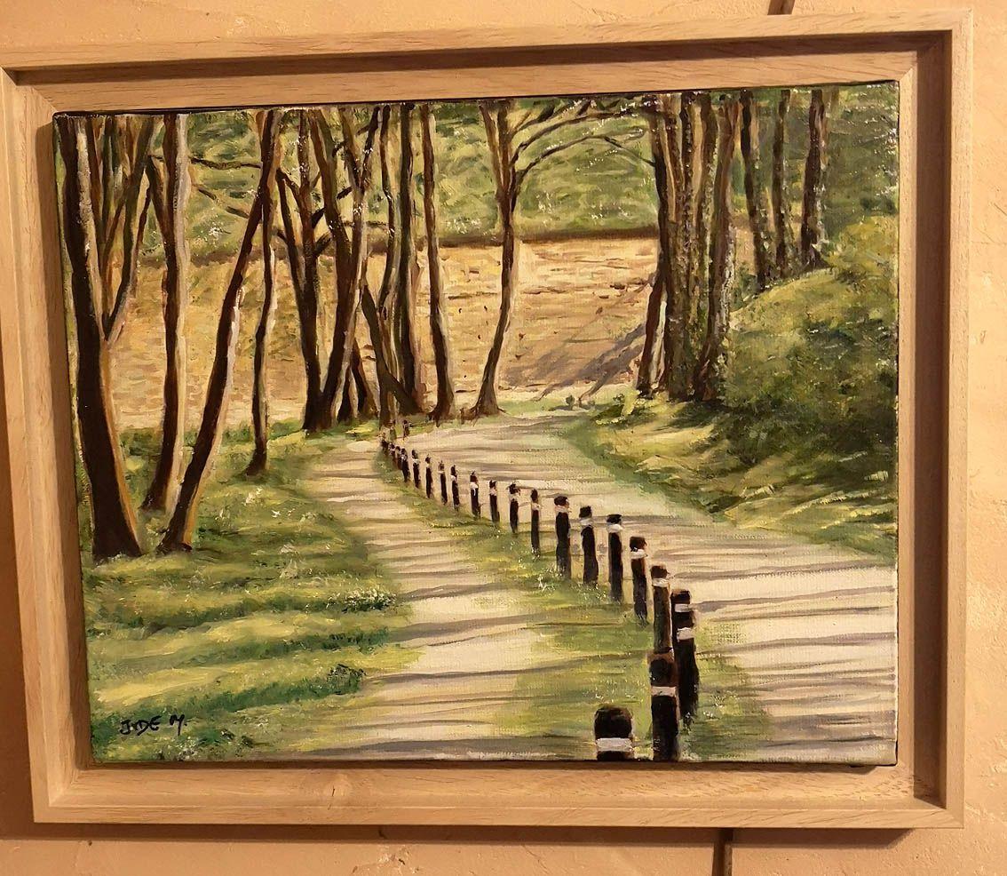 Une allée à la Citadelle d'Arras, huile sur toile, 41 x 33 cm