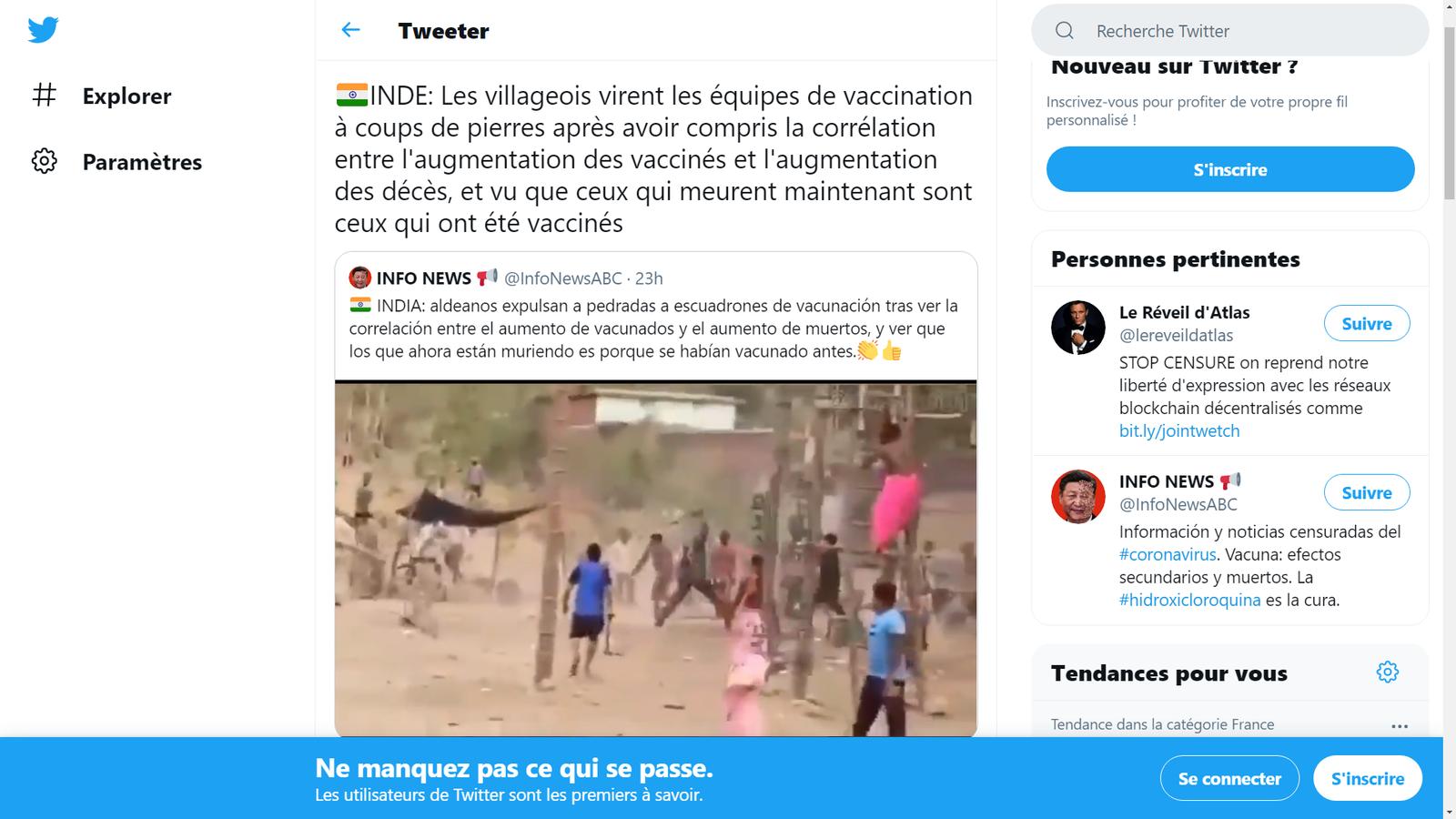 Les villageois indiens chassent des équipes de vaccination à coups de pierres après avoir compris la corrélation entre l'augmentation des vaccinés et l'augmentation des décès