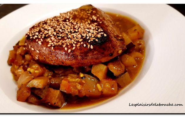 Thon rouge sauce au curcuma et courgette poêlée.