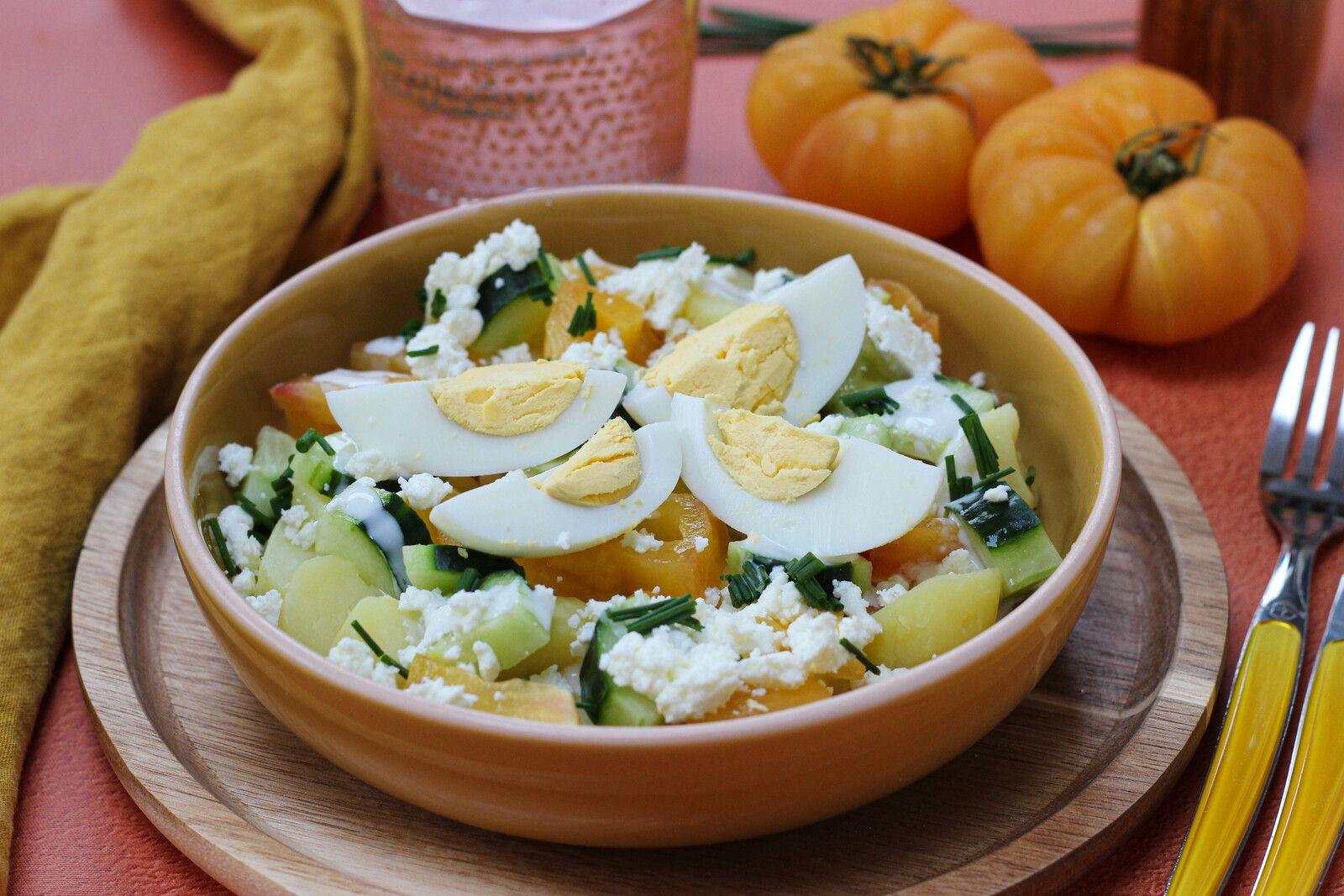 salade pommes de terre tomates jaunes feta ciboulette