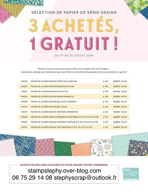 Promotion papiers stampin'up