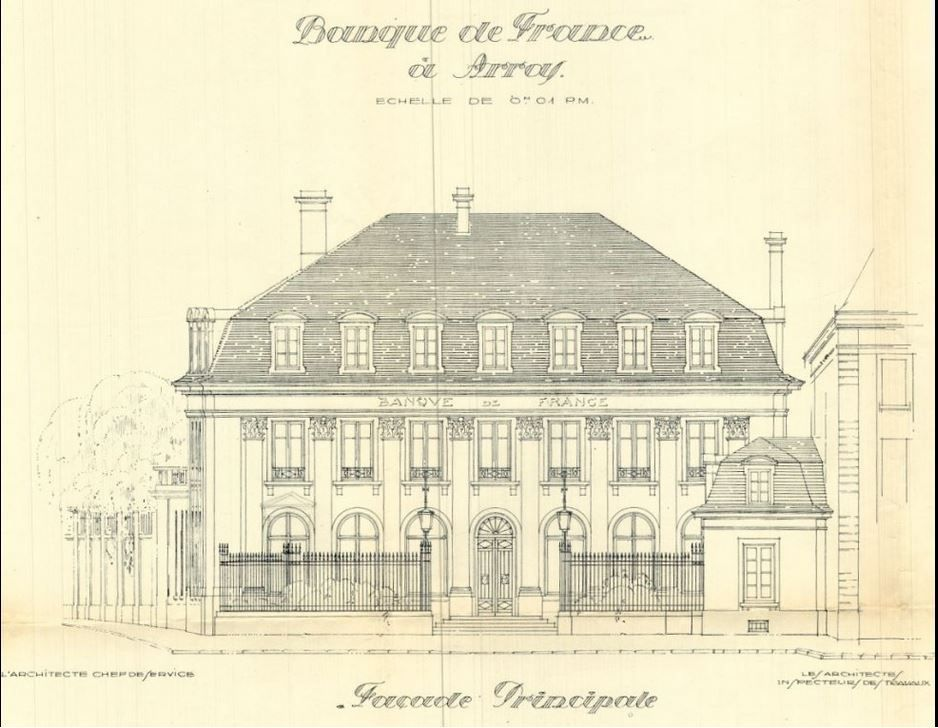 Rue Héronval, Banque de France. Paul Decaux et E. Crevel, architectes (Arras et Paris), 1924 - Cartes postales : collection privée.