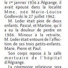 Décès en 2017 à Algrange ou d'anciens Algrangeois (es)
