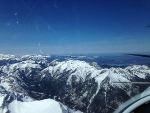 Passage du Col du Brenner à 9500 ft, vent fort de face, puis dans l'ordre: Innsbruck, Garmisch et enfin Füssen en plaine
