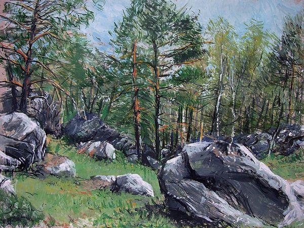 Forêt et rochers de Fontainebleau. Gouache 65x50 Bhavsar