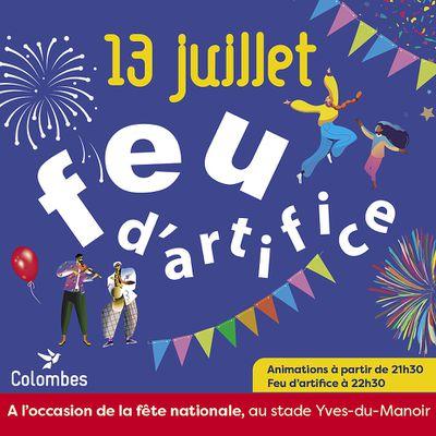 13 JUILLET Feu d'artifice Stade Yves du Manoir : PASS SANITAIRE OBLIGATOIRE