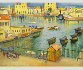 Port d'Alger Huile sur panneau  1955 Les Terrasses Détrempe 1990