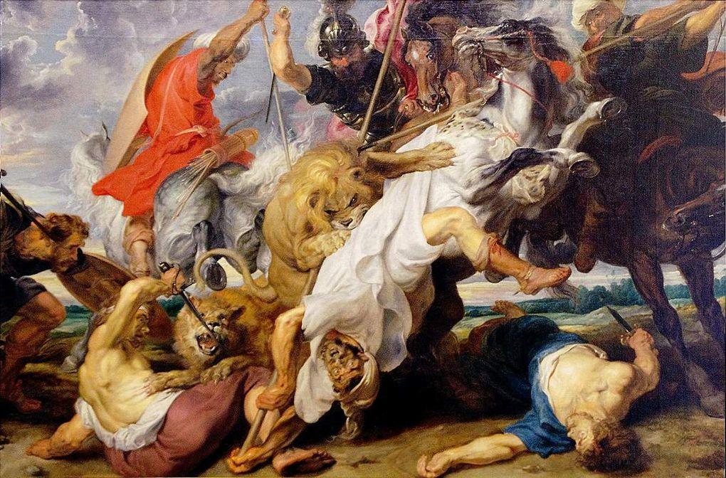 Douze œuvres anciennes reprenant le thème de chasse et d'attaque de félins.