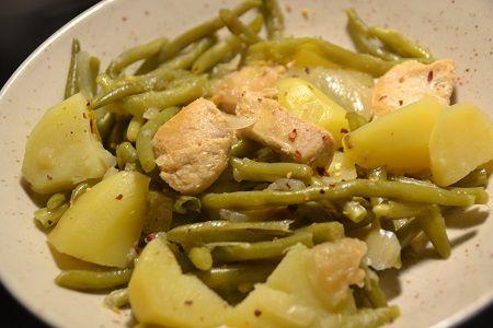 Haricots verts pommes de terre poulet  au cookeo