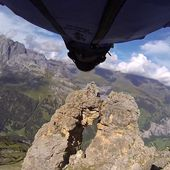 Daredevil in a wingsuit makes the craziest basejump ever