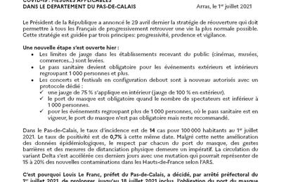 Covid-19 : mesures applicables dans le département du Pas-de-Calais
