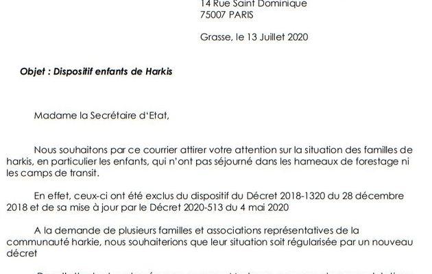 Lettre à Geneviève DARRIEUSSECQ Secrétaire d'Etat aux Anciens Combattants auprès de la Ministre des Armées