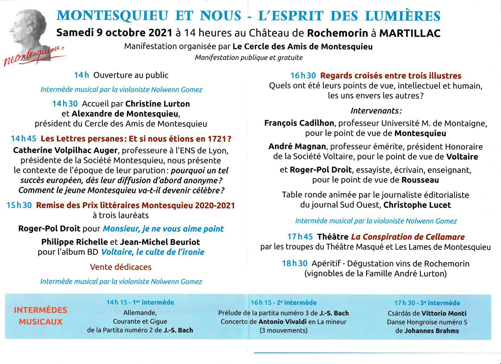 Samedi 9 octobre 2021 : Rendez-vous au Château de Rochemorin