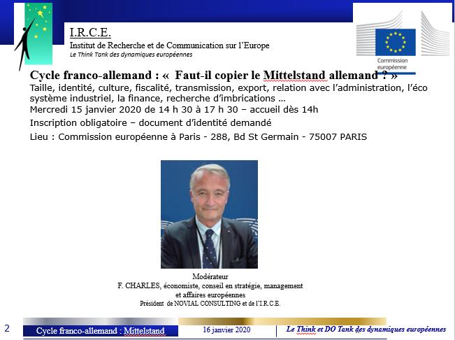15 JANV 20 : CYCLE FRANCO-ALLEMAND : FAUT-IL COPIER LE MITTELSTAND ALLEMAND ?