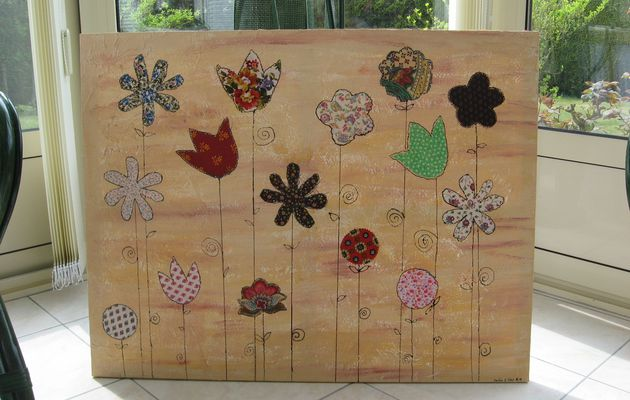 """Grand tableau fleuri """"le jardin d'Eden"""""""