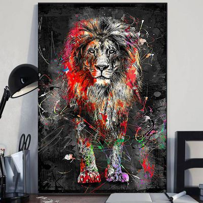 Colorful lion animal abstract painting modern wall art canvas
