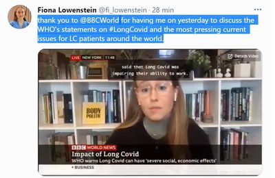 "Emission 26 février 2021 - BBC - Fionia Lowenstien : ""thank you BCC  for having me on yesterday to discuss the WHO's statements on #LongCovid and the most pressing current issues for LC patients around the world."""