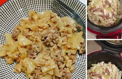 Potée au choux, à la viande hachée et au riz