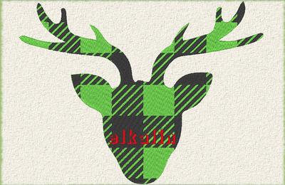 Tête de renne 2 couleurs: 15cm x 20cm
