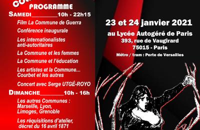 Colloque '' il y a 150 ans la Commune de Paris '' 23 et 24 janvier 2021