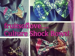 A selection of bows on the left, top and earrings in the middle with green lipstick worn by myself, circle ankara skirt on the right