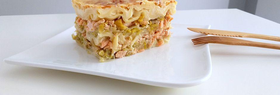 Lasagne poireaux, saumon