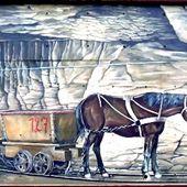 ALGRANGE: Restauration de la fresque des mineurs de Greg GAWRA en 2010 (octobre)