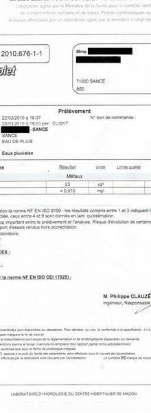 Analyse d'eau en France !