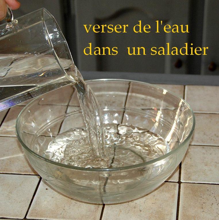 Dessert éphémère facile à faire.  Préparer la salade de fruits pendant la congélation, et la garder de côté.  C'est super facile de démouler sous le robinet d'eau chaude , c'est rigolo. Ensuite on verse les fruits dans le saladier en glace