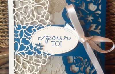 "Projet d'Atelier démonstration Stampin'Up  Lot Amour Fou/""so in love bundle"" ""Detailed Floral Thinlits"""