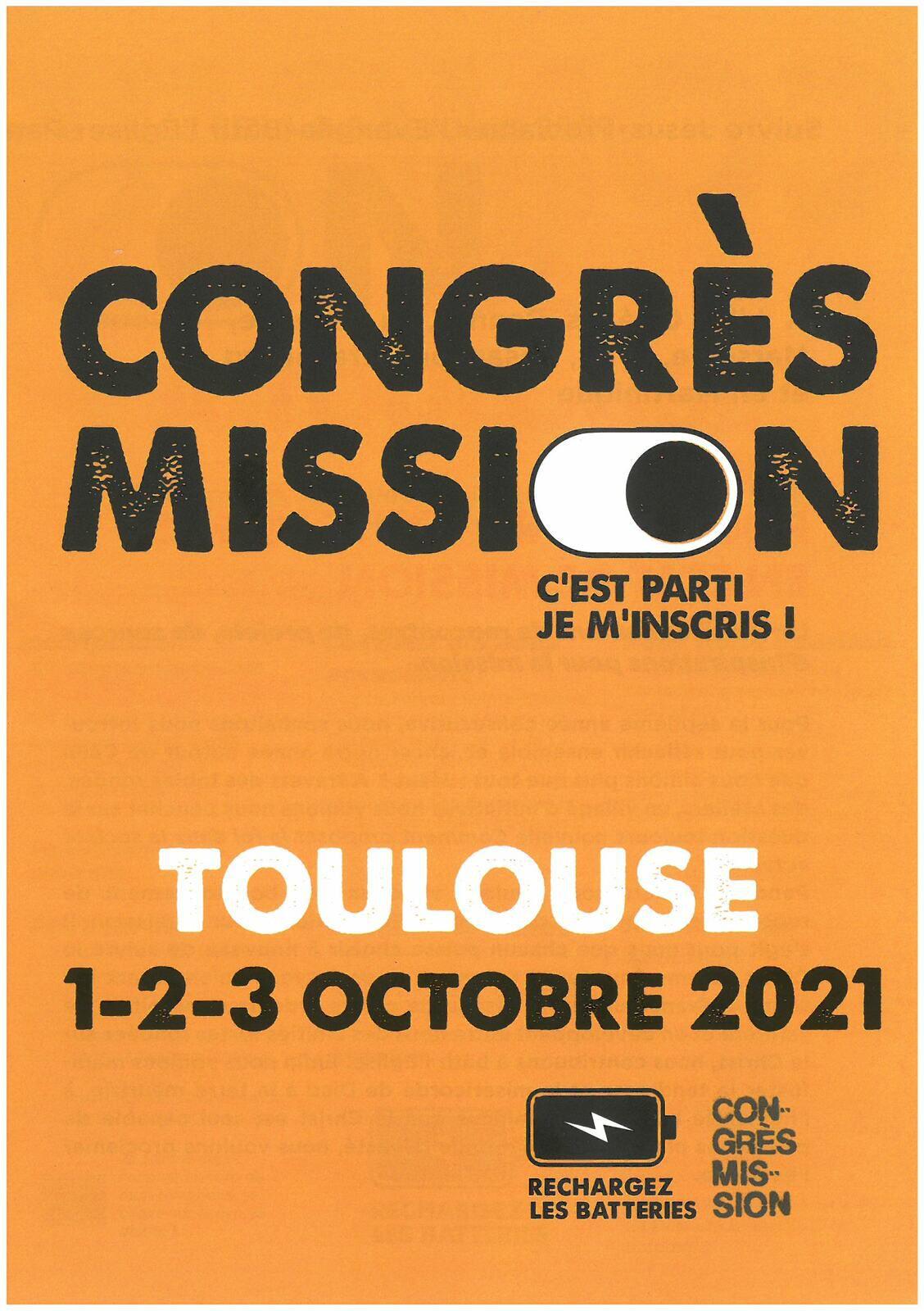 Congrès Mission - C'est le 1-2-3 octobre 2021 sur Toulouse