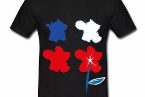 T shirt bleu blanc rouge La France est une fleur HNR