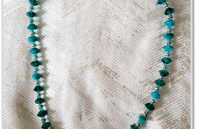 DIY : Collier en perles de roche et perles métallisées.
