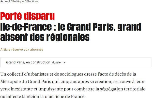 """""""PORTE DISPARU: le Grand Paris, grand absent des régionales"""", un article sur Libération.fr"""
