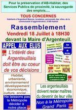 Rassemblement Vendredi 18 Juillet 18H30 devant la Mairie d'Argenteuil pour que l'intérêt des argenteuillais soit au coeur des décisions des élus