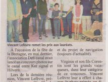 Presse locale, un article important pour l'association Défi Canal...