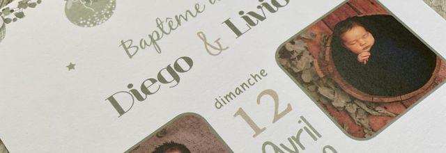 Le faire part de baptême de Diego & Livio ... thème champêtre eucalyptus