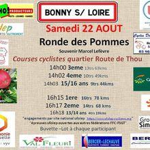 """Le samedi 22 août 2020à Bonny sur Loire (45), Ronde des Pommes """"Souvenir Marcel Lefèvre"""", Courses cyclistes """"UFOLEP et autres fédérations FFC-FSGT"""" quartier Route de Thou 14 h 3ème - 14 h 02 4ème - 16 h 15 1ère - 16 h 17 2ème et 14 h 18 13/14 ans - (Dominique FEUILLETTE - Vélo Sport Saint Cyrien)"""