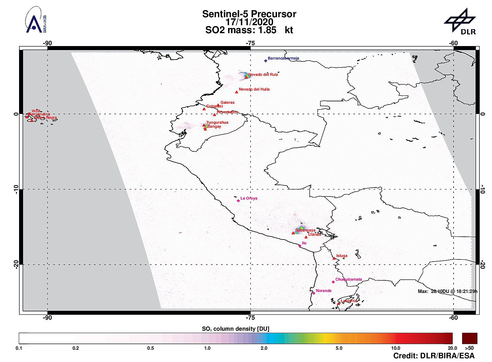 Sabancaya - 11/17/2020 Tropomi / Sentinel-5P has detected a strong sulfur dioxide signal near Sabancaya, with 13.65 DU of SO2. (bottom center of document) - Doc. DLR / Bia / ESA - Sentinel-5 P Tropomi