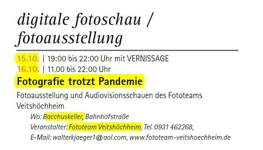 Veitshöchheim ist mit 18 Programmpunkten beim 31. Kulturherbst des Landkreises Würzburg vom 24. September bis 17. Oktober  dabei
