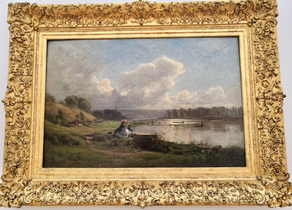 François-Louis Français (1814-1897), Au bord de l'eau, environs de Paris, 1861, Huile sur toile