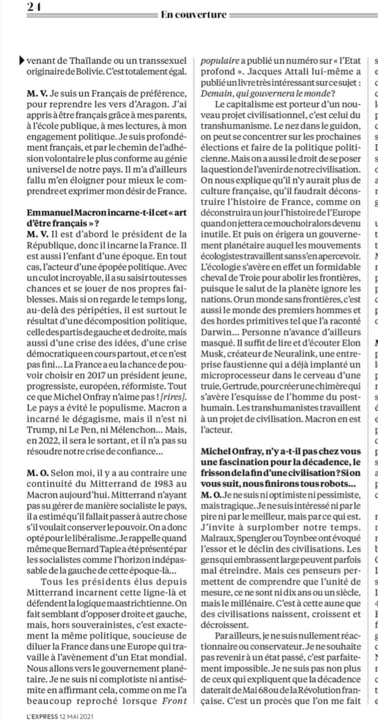 Michel Onfray - L'Express (12.05-19.05.2021)