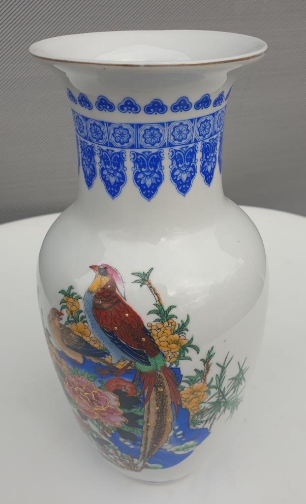 Vase porcelaine oiseaux lyres et rossignols du Japon - 20 euros