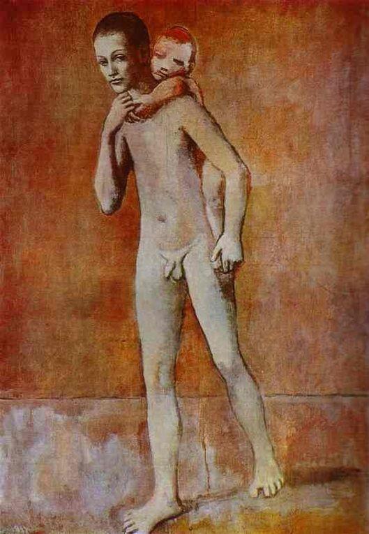 À partir de 1905, Picasso s'installe à Paris, au Bateau-Lavoir, dans l'atelier laissé par Paco Durrio. Là, il rencontre sa première compagne : Fernande Olivier. C'est le début de la période rose et c'est l'utilisation des teintes « rougée